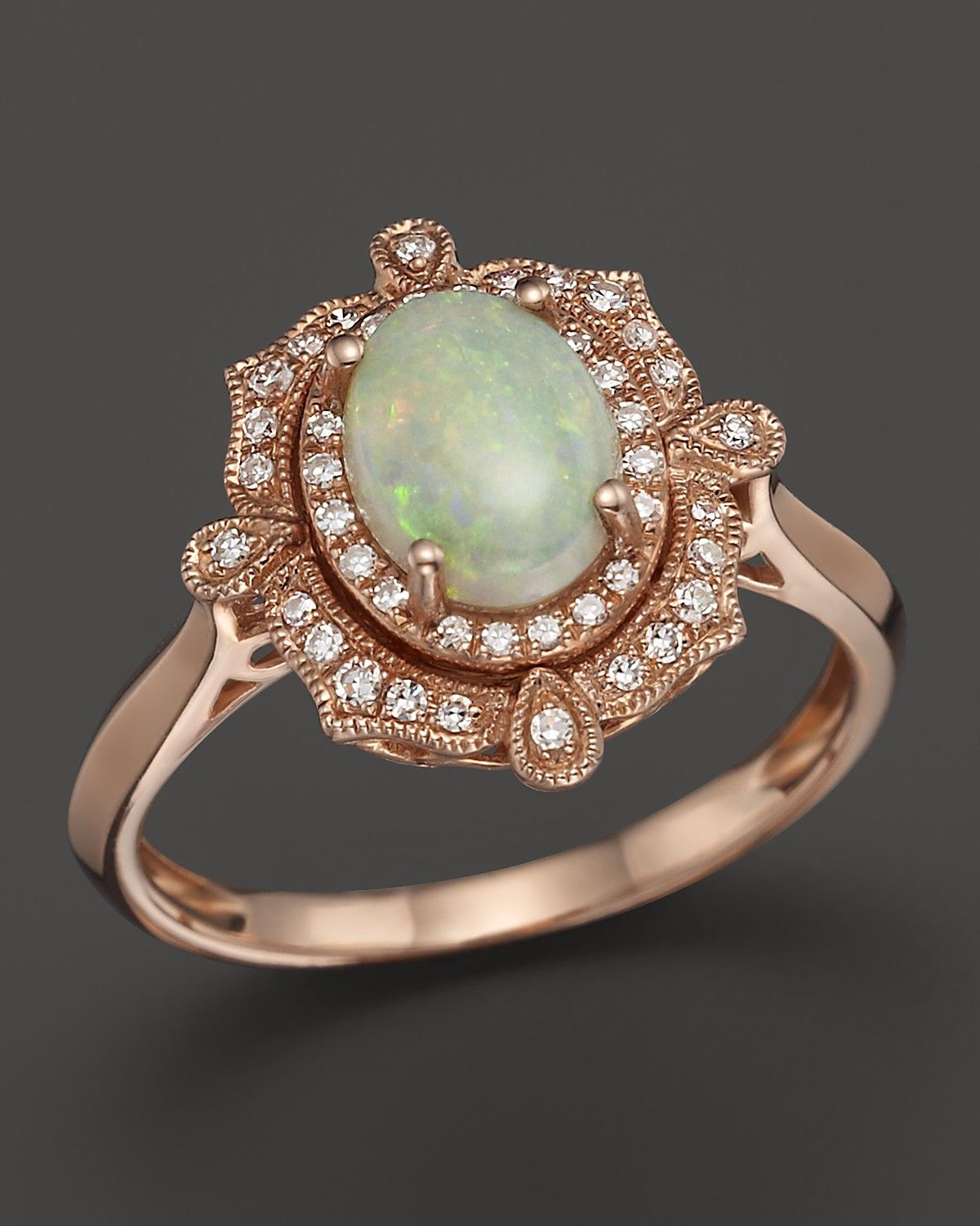 Opal and Diamond Antique Inspired Ring in 14K Rose Gold PRICE EUR