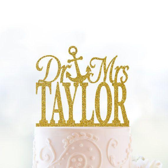 Glitter Dr and Mrs Cake Topper, Last Name Wedding Cake Topper ...