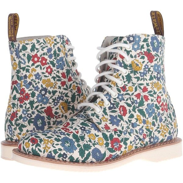 Dr. Martens Evan Women's Boots ($96) ❤ liked on Polyvore featuring shoes, boots, multi, low heel shoes, round toe boots, laced boots, lace up boots and flower print shoes