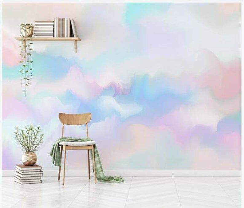 Abstract Rainbow Colorful Clouds Wallpaper Hand Painted | Etsy