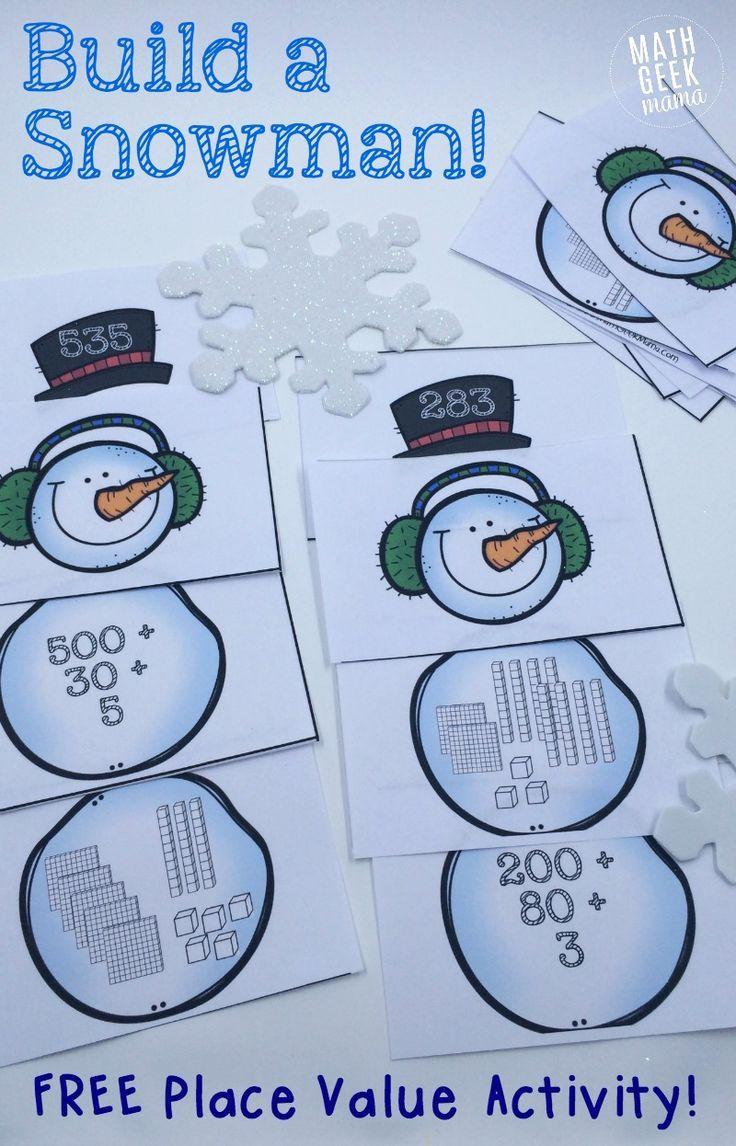 Simple Snowman Themed Place Value Activity! Place value