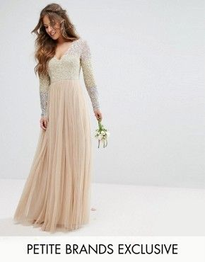 Maya Petite Long Sleeve V Neck Tulle Maxi Dress With Multi Colour