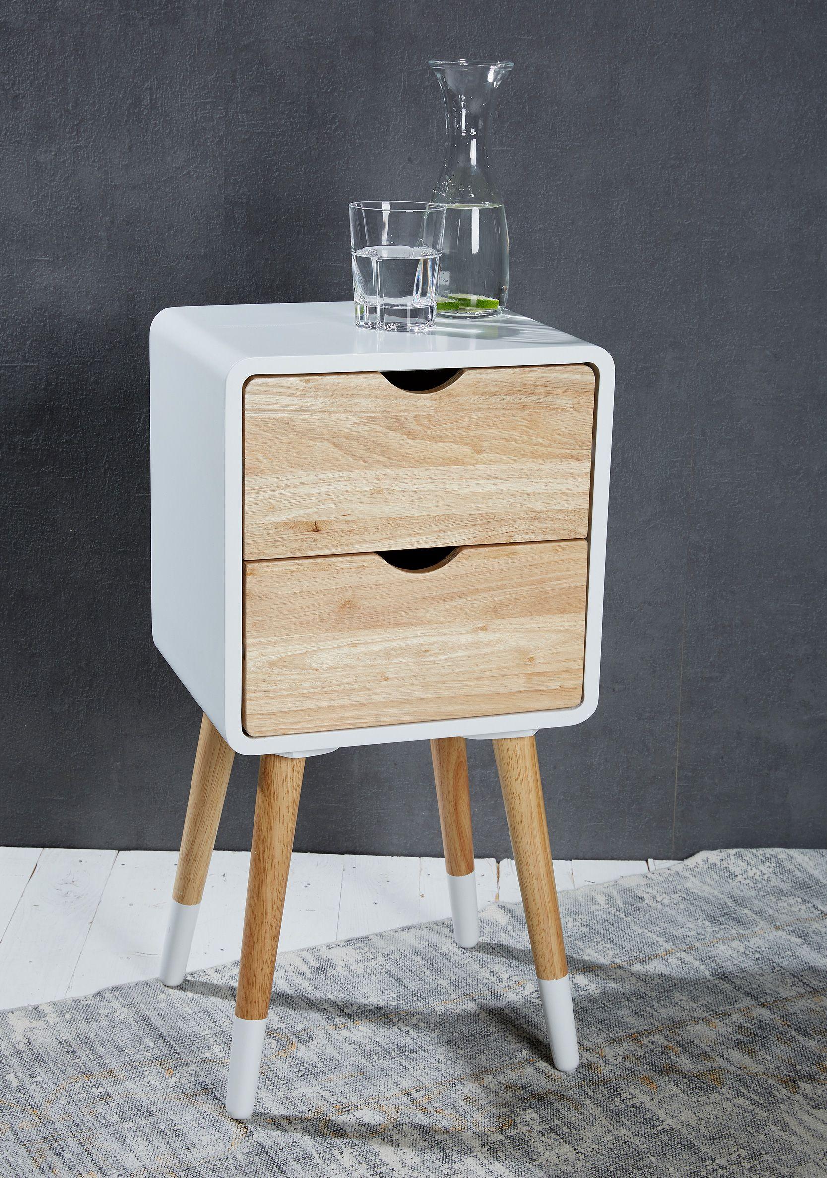 Beistelltisch Nachttisch Retro Design Schubladen Regal Wohnzimmertische Telefontisch