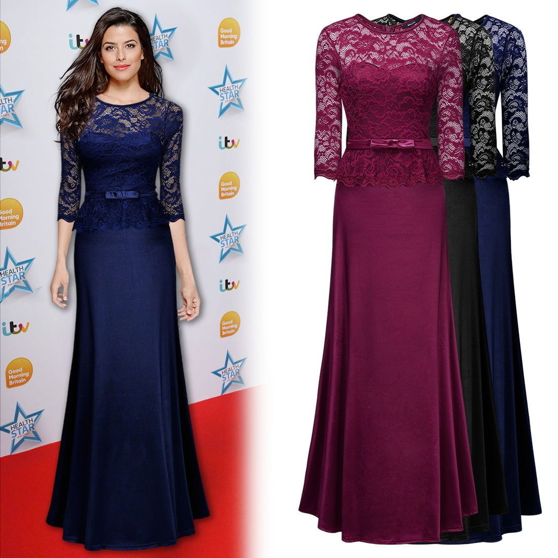 Womenus vintage lace formal evening long prom gowns cocktail
