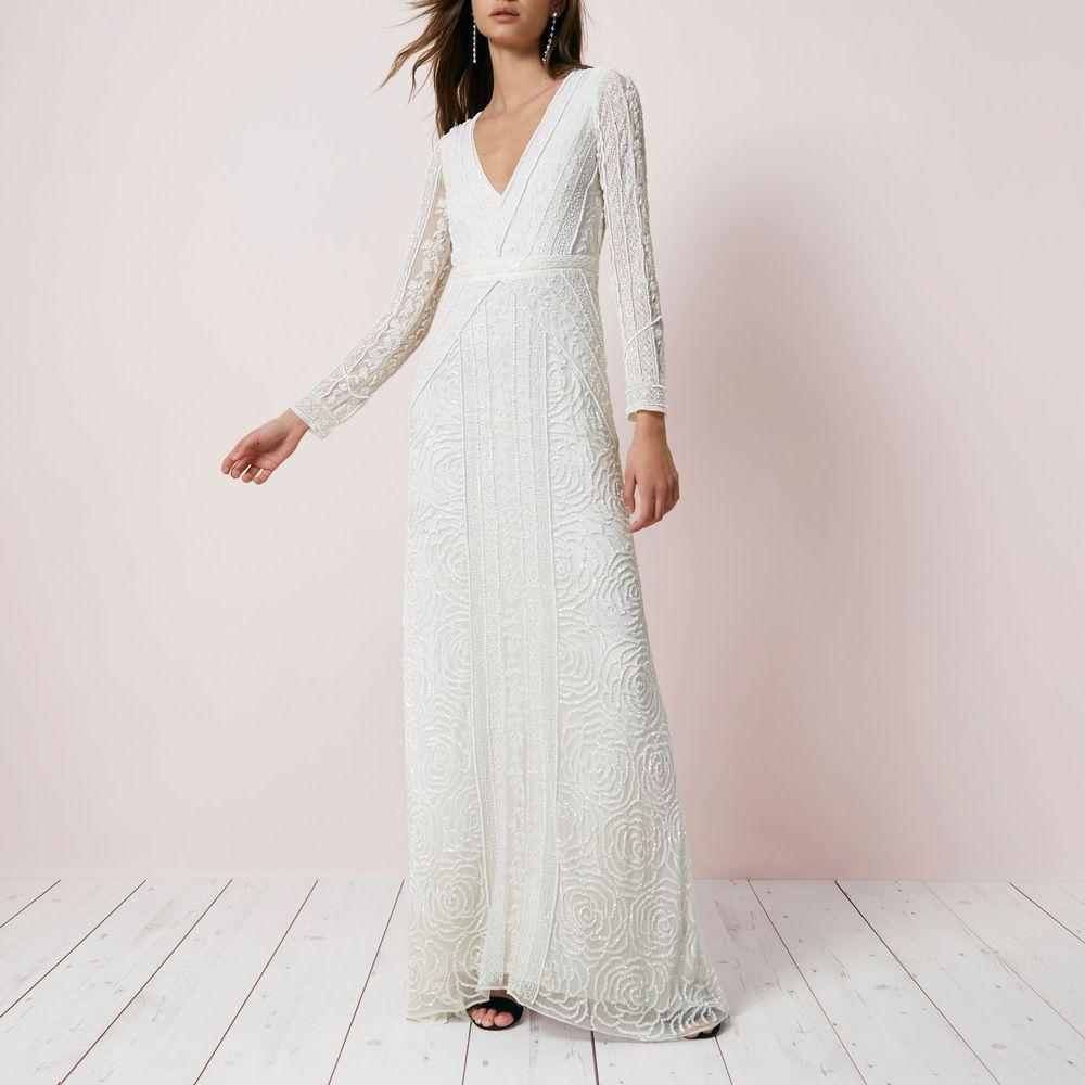 Ex River Island Cream Sequin Long Sleeve Maxi Dress Wedding Bridal Rrp 250 Tall Maxi Dress Dresses Maxi Dress Wedding [ 1000 x 1000 Pixel ]