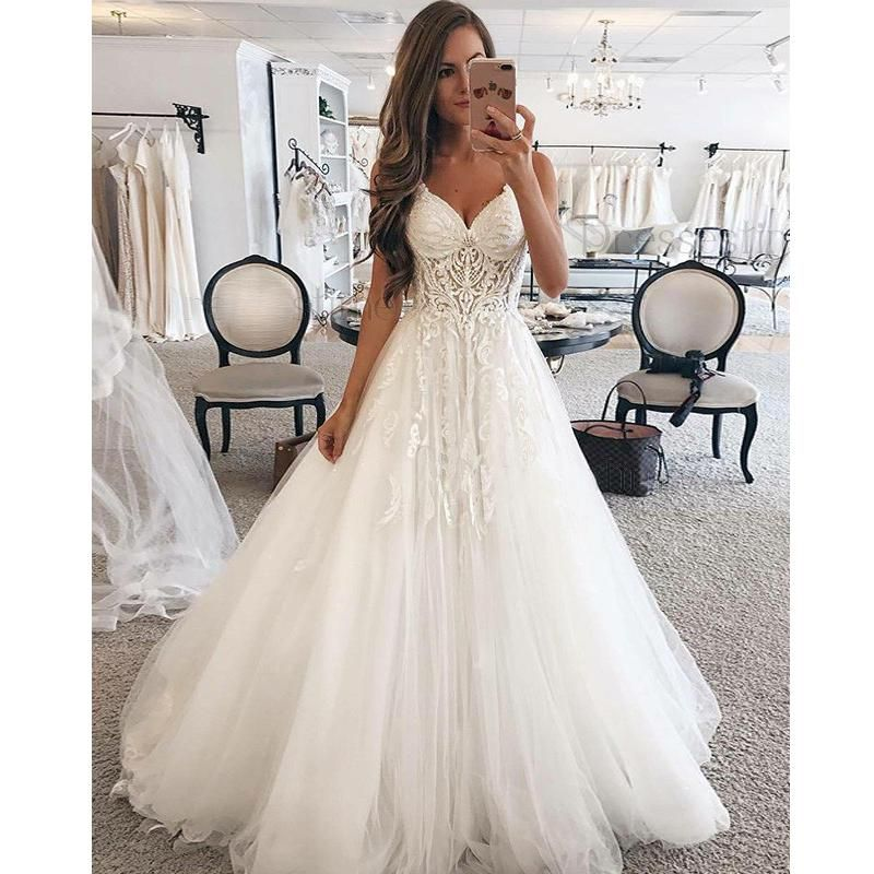 34720f8135d1 A Line Spaghetti Strap Sweetheart Charming Applique Long Wedding Dresses,  BGP261