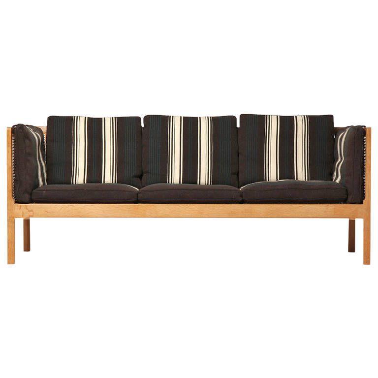 Oak, Cane And Nailhead Trimmed Striped Wool Uphu0027d. Sofa By Bernt Petersen