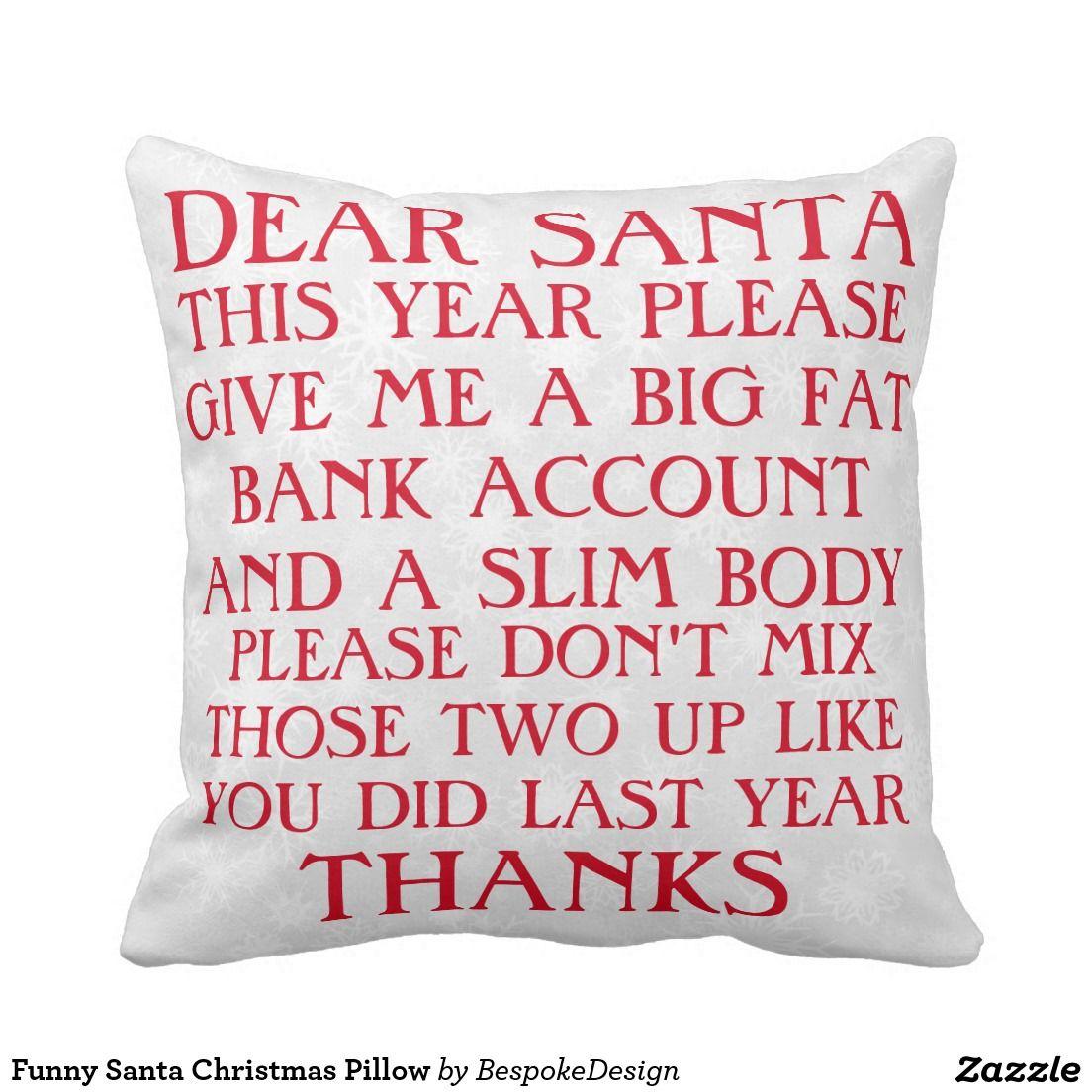 Funny santa christmas pillow namaste pillows pinterest