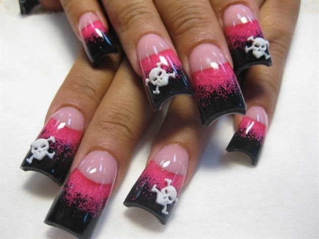hot pink and black skulls by Oli123 - Nail Art Gallery ...