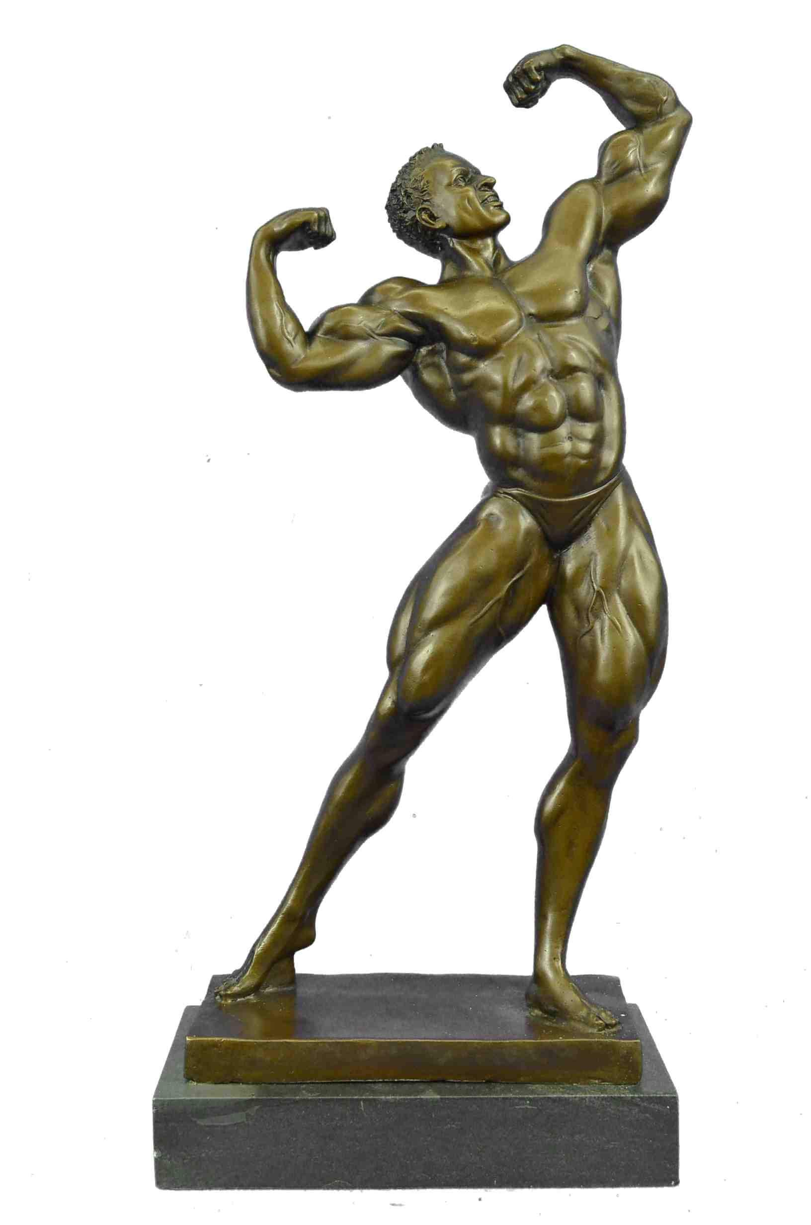 Abstract Bronze Muscle Man Flexing Sculpture Nude Male