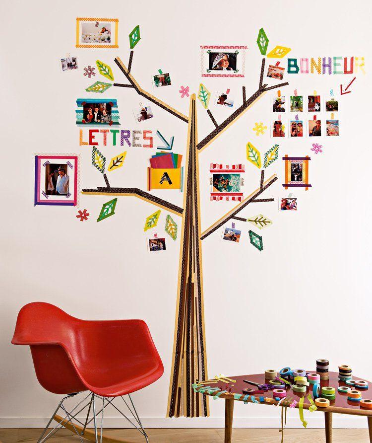 un arbre dessin en masking tape arbre g n alogique pinterest washi deco et d coration murale. Black Bedroom Furniture Sets. Home Design Ideas
