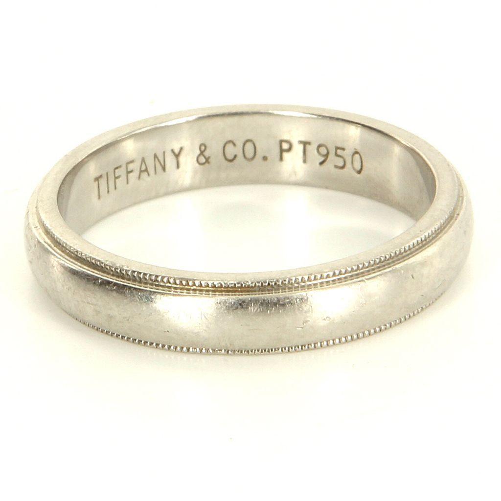 Estate Designer Tiffany Co 950 Platinum Milgrain Wedding Band Ring