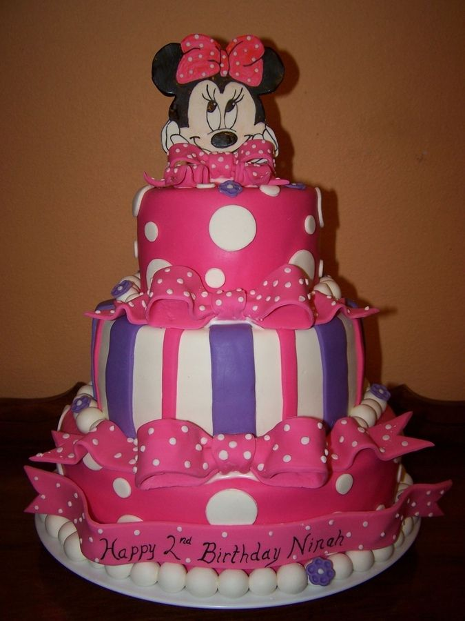 Surprising Pink Purple Minnie Mouse Cake With Images Minnie Mouse Personalised Birthday Cards Veneteletsinfo