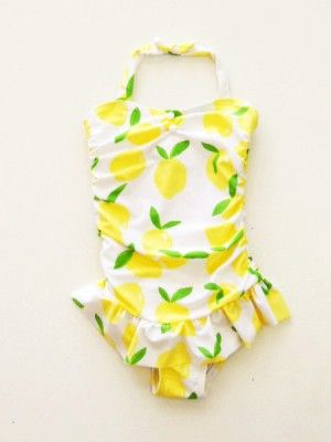 376fc80b3e8ec1 Janie & Jack Yellow Lemon-Print One-piece Swimsuit, Size 2T, 3, 4 ...