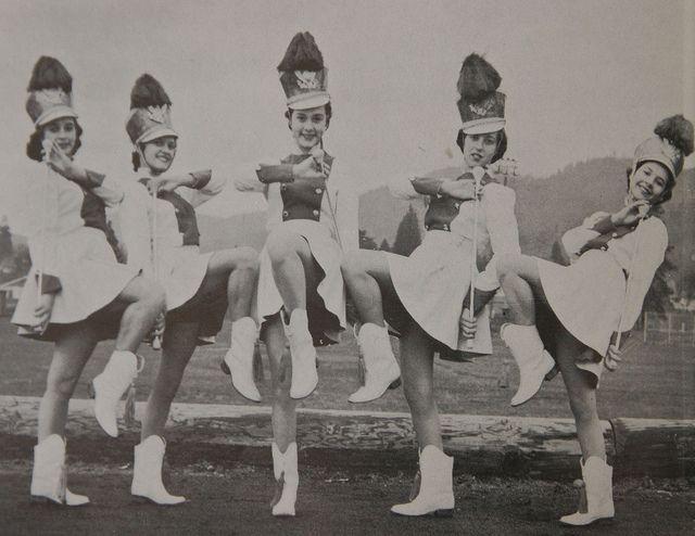 Grants Pass High School Color Guard. 1960's Black & White photo
