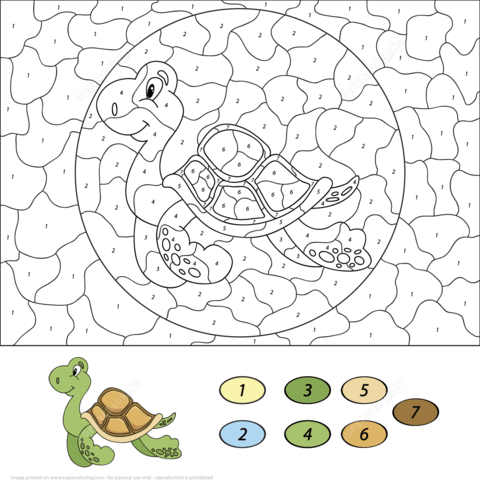 sea turtle colornumber coloring page  turtle coloring pages coloring pages free printable