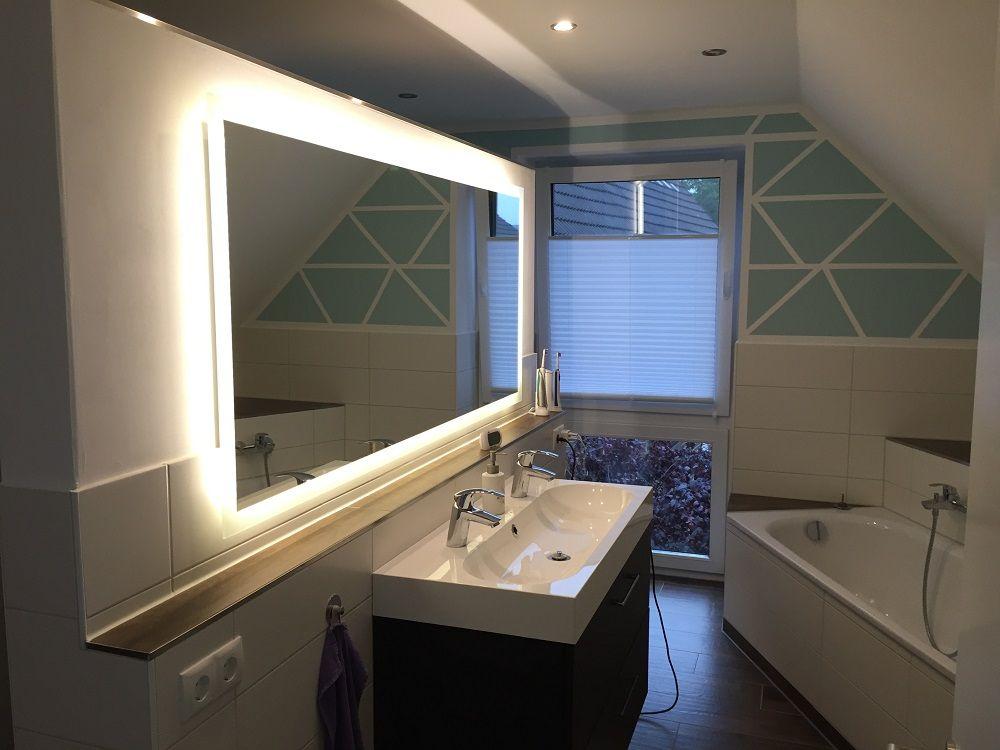 Badspiegel Mit Beleuchtung Komplettiert Unsere Badezimmerplanung Badspiegel Badezimmerspiegel Badezimmer Design