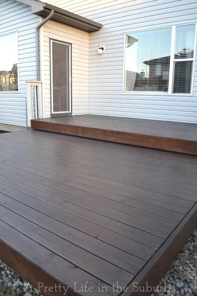 Tips For Staining Your Deck Love This Dark Stain Deck Makeover Platform Deck Backyard