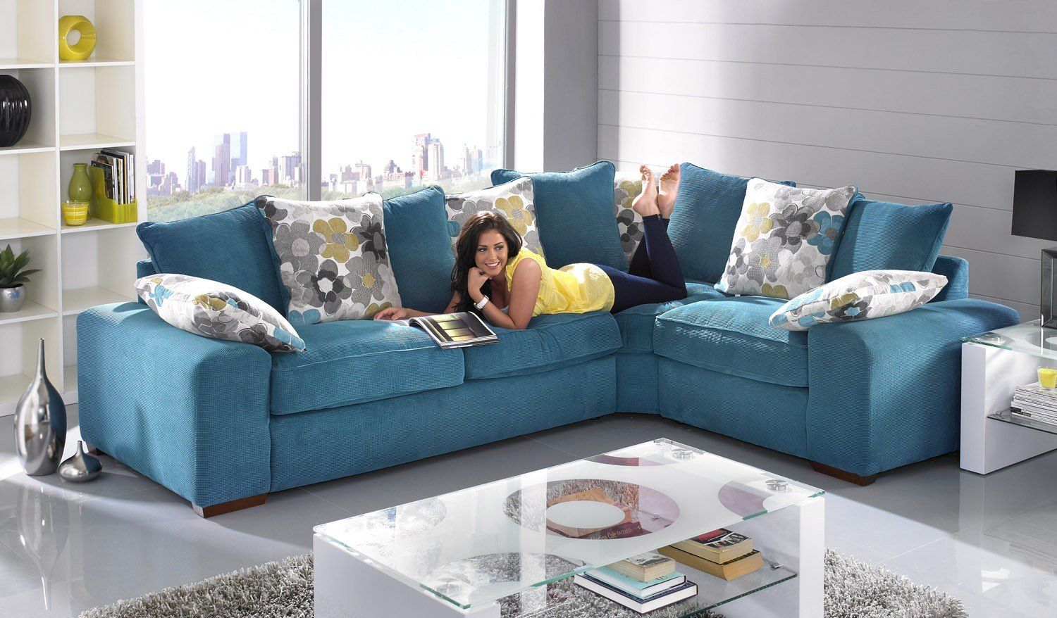 A trendy modern sofa that is fabulous on design and big on