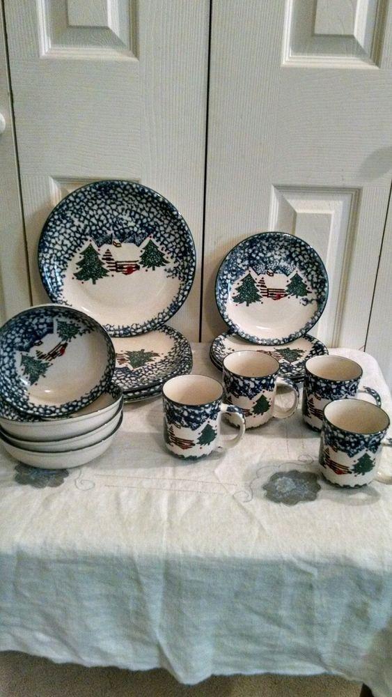 16 PC Dinnerware Christmas Cabin in The Snow Tienshan 4 Place Setting & TIENSHAN CABIN In The Snow Folk Craft Stoneware 16 Piece Dinnerware ...