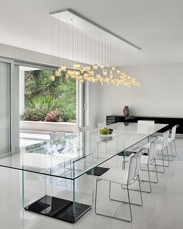 Dramatic Cascading Chandeliers Unleash Visual Splendor And Pomp Dining Room Contemporary Minimalist Dining Room Dining Table Lighting