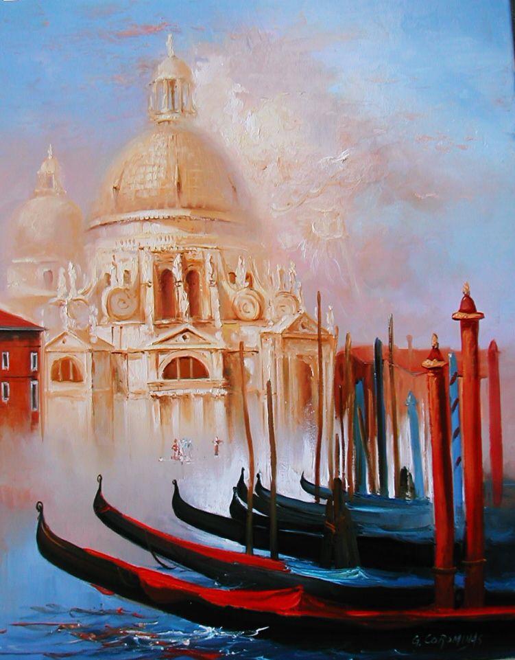 Les Gondoles A Venise Georges Corominas Paysage Jaune Gondole