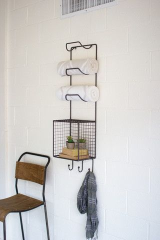 Kalalou Towel Rack With Wire Basket Shelf Wire Basket Shelves Diy Shelves Bathroom Metal Towel Racks
