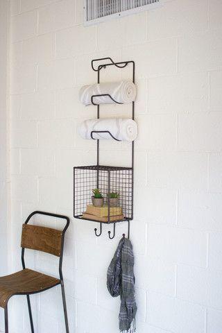 Kalalou Towel Rack With Wire Basket Shelf Wire Basket Shelves Diy Shelves Bathroom Metal Towel Racks