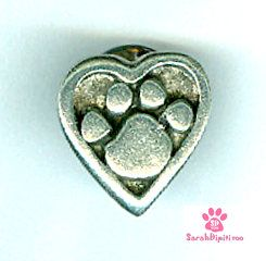 Pet Remembrance Jewelry, Pewter ,Pet Remembrance Brooch, Paw And Heart Pin , Paw
