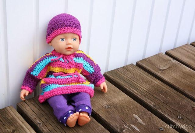Puppenkleidung häkeln. Pullover, Kleid, Hose und Mütze ...