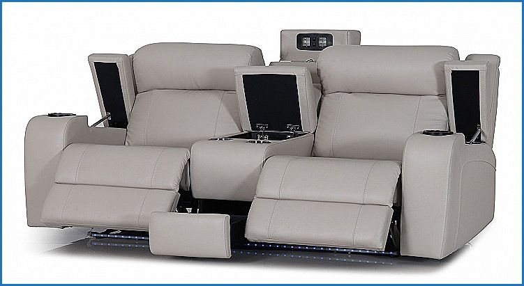 Luxury Marina 3 Seater Powered Recliner Leather Sofa Furniture