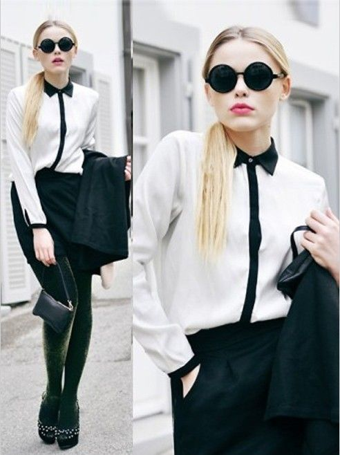 Black And White Mixed Color Lapel Long-sleeved Shirt