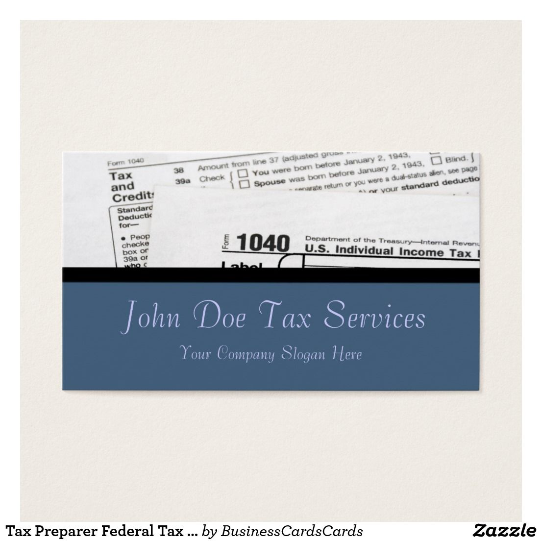 Tax Preparer Federal Tax Form Business Card