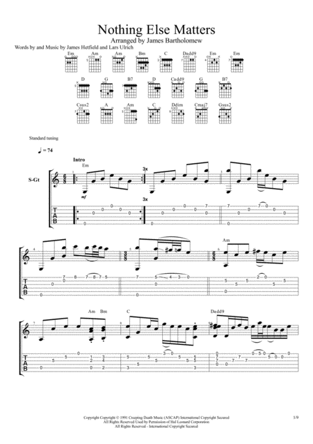 Nothing Else Matters Fingerstyle Guitar Fingerstyle Guitar Digital Sheet Music Sheet Music