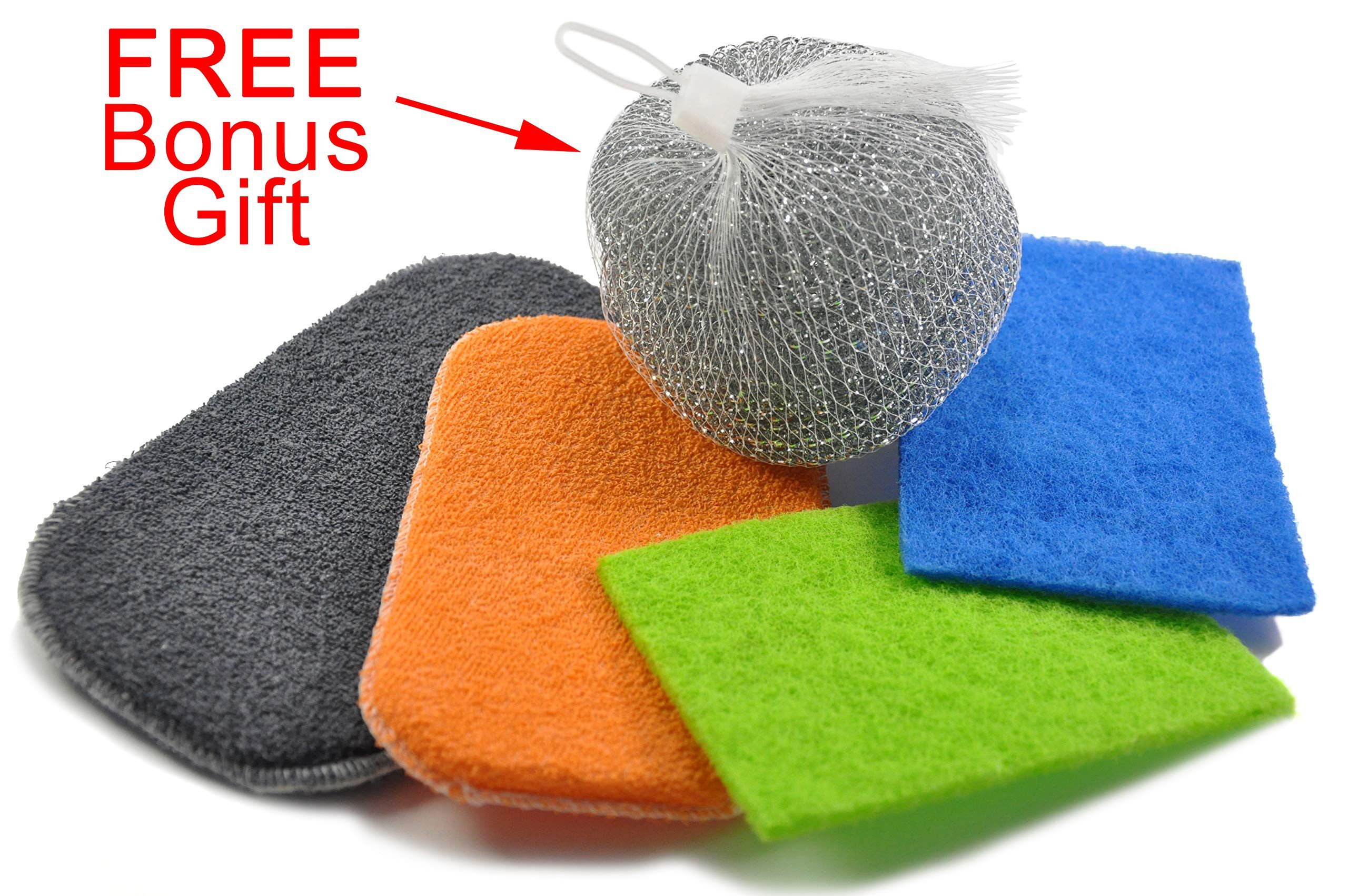 603198 4 Colored Soft Sponges For Kitchen And Bathroom Color Random Scouring Pads Cleaning Abrasive Sponges General Purpose Sc Bathroom Color Scrubbers Scourer