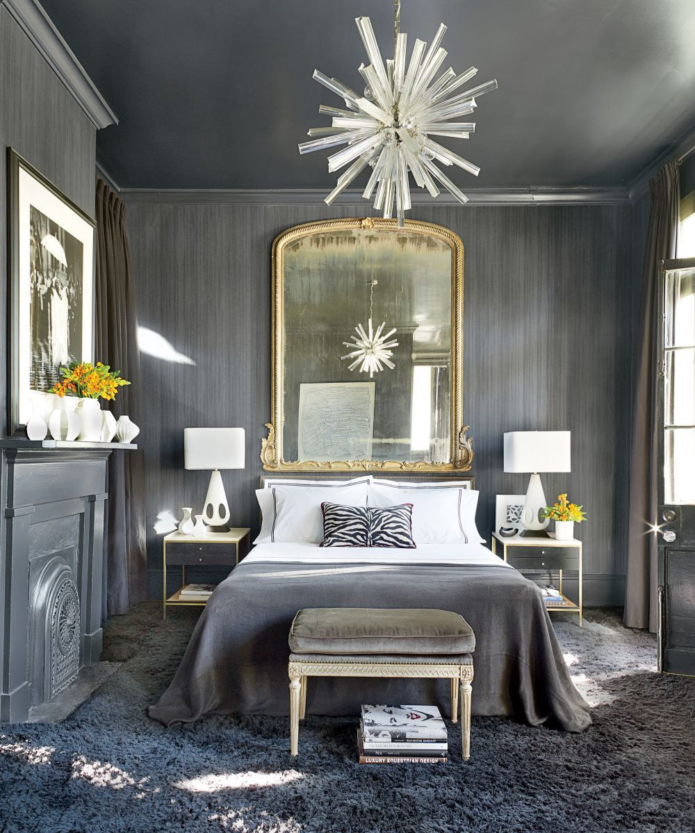 Designer Lee Ledbetter Infuses The Guest Bedroom Of A New Orleans Home With His Signature Flair Using Large Mirror In Place Headboard Above Bed