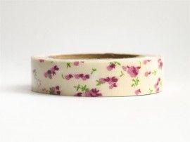 Fabric tape Roze bloemen