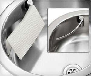 Holder for #kitchen towel, rag for stainless steel #sink. Attaches using magnet inside sink & looks #sexy as well.