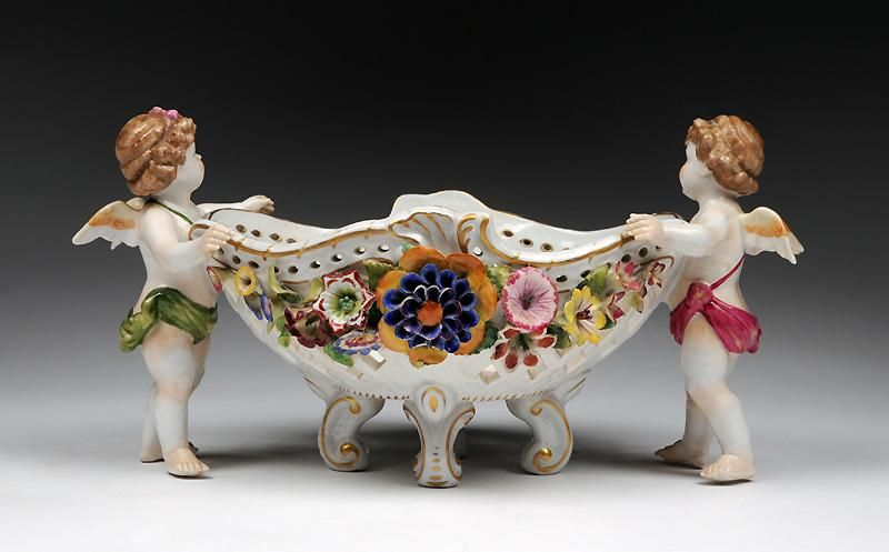 "Von Schierholz,  Dresden Porcelain (Germany) —  Flower Encrusted Pierced Centre Bowl. L:12"", H:6 1/4""  (800x497)"