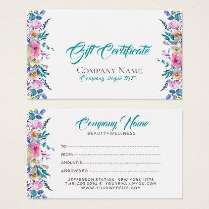 Colorful Flowers Border Gift Certificate Template Zazzle Com