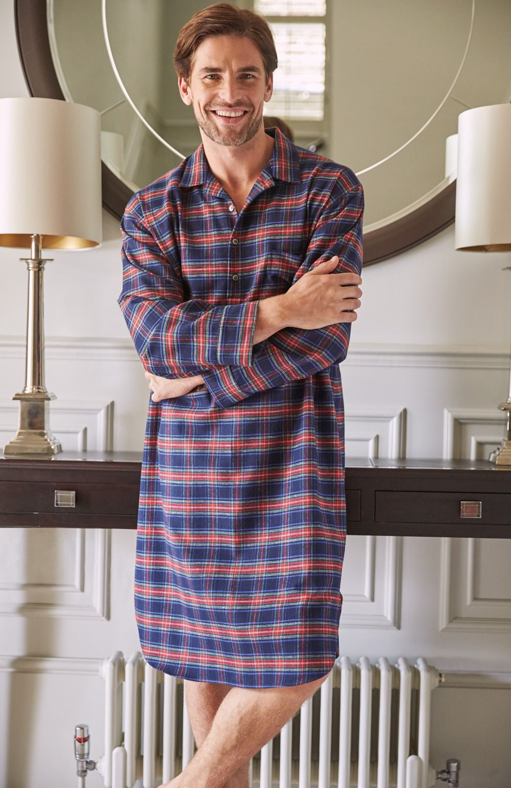 Brushed Cotton Men' Nightshirt With Classic Collar