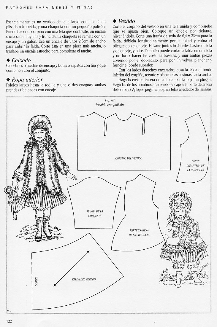 """pattern in spanish. 1/4"""" seams; not sure about the size of the doll, includes a jacket[?] and a dress[?]"""