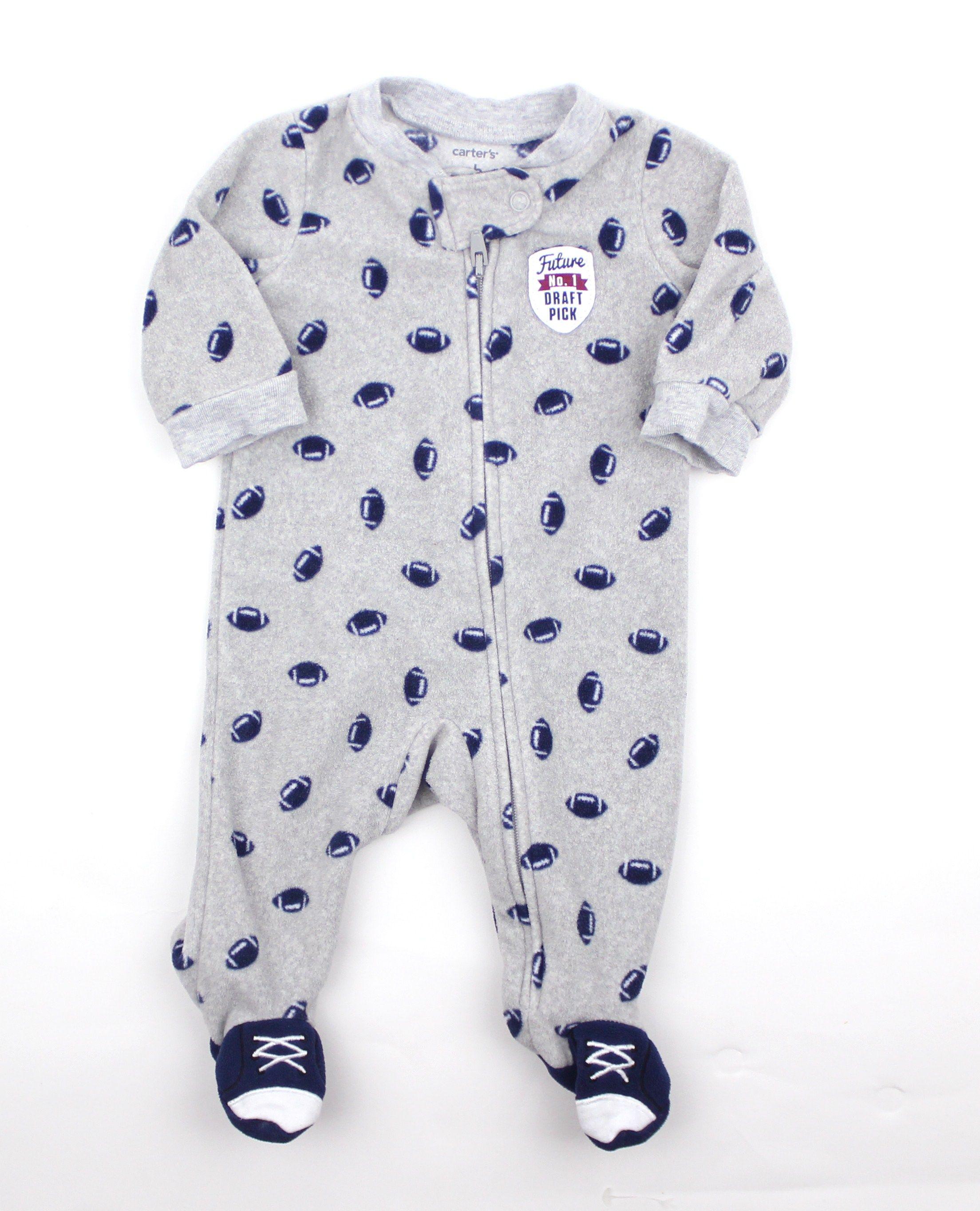 Newborn Infant Grey Fleece Sleeper with Football Motif by Carters