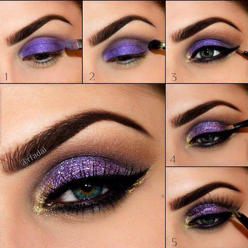 makeup eyes purple violet gold smokey glitter dark tutorial rfadai