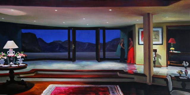 NIGEL VAN WIECK: Another World - oil on canvas 18x36 inches