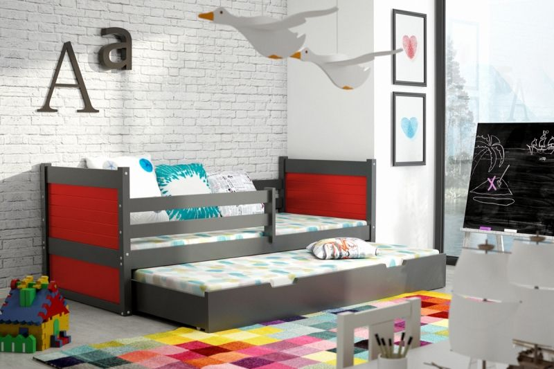 kinder doppelbett mit 2 matratzen rote kinderbetten pinterest doppelbett matratze und. Black Bedroom Furniture Sets. Home Design Ideas