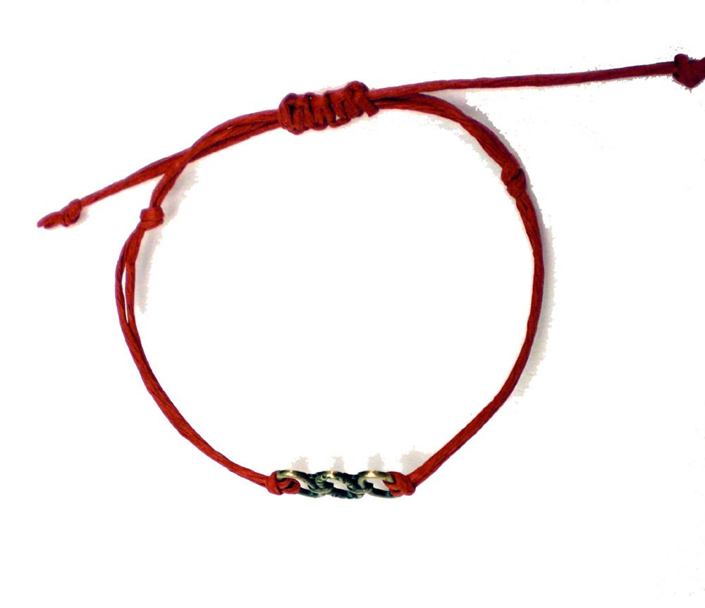 Red String On Right Wrist Bracelet With Three Circles Charm 18 00