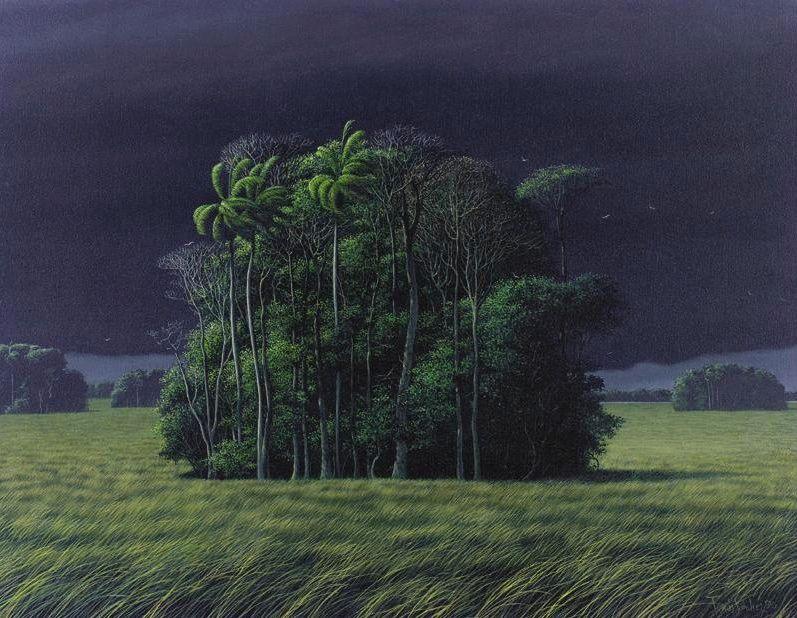 """"""" Tomás Sánchez (Cuban, b. 1948), Luz de una tarde de tormenta [Light of a stormy afternoon], 1990. Oil on canvas, 22 x 28 in. """""""