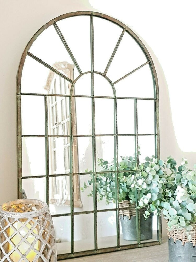 Industrial Vintage Style Grey Metal Arched Window Wall Mirror Home