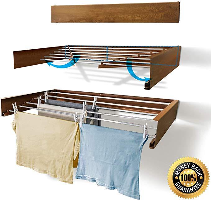 laundry drying rack wall